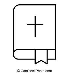 vetorial, teia, estilo, bíblia, 10., esboço, santissimo, app., isolado, ilustração, eps, religião, white., livro, projetado, icon., linha, desenho, magra