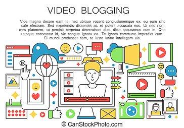 vetorial, teia, mulher, modelo, magra, apartamento, pessoal, blogger, concept., esboço, blogger., blogging, apoplexia, computador, vídeo, canal, femininas, linha, tela, broadcasting., illustration.