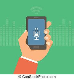 vetorial, telefone móvel, em, apartamento, estilo, -, voz,...