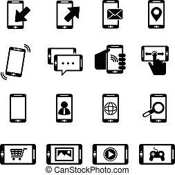 vetorial, telefone preto, ícones, jogo