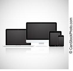 vetorial, telefone, tabuleta, monitor, laptop