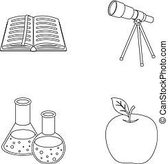 vetorial, telescópio, jogo, bookmark, ícones, apple., símbolo, esboço, web., estilo, cobrança, frascos, livro, ilustração, reagents, escolas, educação, abertos, vermelho, estoque