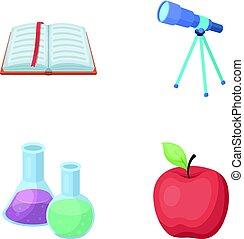 vetorial, telescópio, jogo, bookmark, ícones, apple., símbolo, web., estilo, cobrança, frascos, livro, ilustração, reagents, escolas, educação, abertos, caricatura, vermelho, estoque