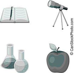 vetorial, telescópio, jogo, bookmark, ícones, apple., símbolo, web., estilo, cobrança, frascos, livro, ilustração, reagents, escolas, monocromático, educação, abertos, vermelho, estoque