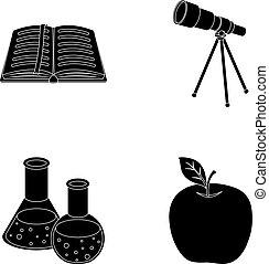 vetorial, telescópio, jogo, bookmark, ícones, apple., símbolo, web., estilo, cobrança, frascos, livro, pretas, ilustração, reagents, escolas, educação, abertos, vermelho, estoque