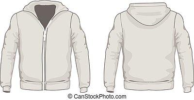 vetorial, template., homens, costas, camisas, frente, views., hoodie, illustration.