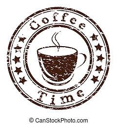 vetorial, tempo café, grunge, selo, com, um, copo