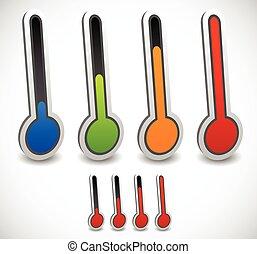 vetorial, termômetro, set., gelado, quentes, temperatura, weather.