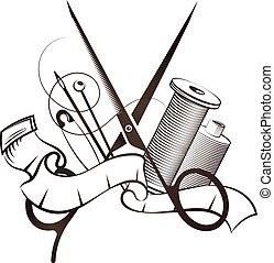 vetorial, tesouras, corte, cosendo