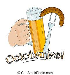 vetorial, texto, linguiça, octoberfest, mão, cerveja, assalte, luz, illustration., garfo, segurando