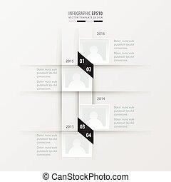 vetorial, timeline, desenho, preto branco, cor