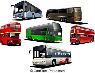 vetorial, tipos, bus., ilustração, sete
