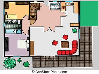 vetorial, topo, apartamento, plano, vista