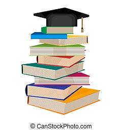 vetorial, topo, ilustração, acadêmico, livros, quadrado, pilha, chapéu