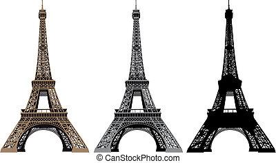 vetorial, torre, eiffel, ilustração