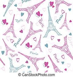 vetorial, torre eiffel, paris, amor, cor-de-rosa, cinzento, desenho, seamless, padrão, com, romanticos, corações