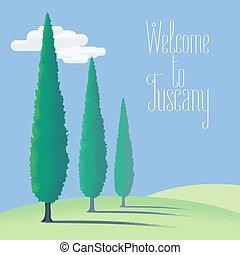 vetorial, toscana, terra, ilustração, fazenda, tuscany, elemento, fundo, desenho