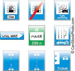 vetorial, tráfego, detalhes, europeu, sinais