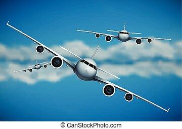 vetorial, três, aviões