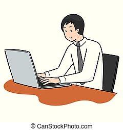 vetorial, trabalhador, escritório