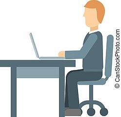 vetorial, trabalhador, illustration., escritório