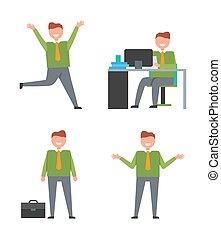 vetorial, trabalhador, ilustração, ícones escritório