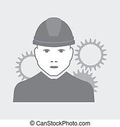 vetorial, trabalhador, mecânico