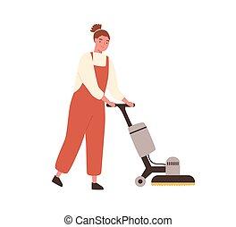 vetorial, trabalhador, serviço, experiência., apartamento, chão, machine., estilo, lavando, varredor, jovem, branca, caricatura, mulher, profissional, ilustração, equipamento, zelador, limpeza, segurando, uniforme, isolado