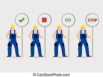 vetorial, trabalhadores, postos, ilustração, sinal, construção