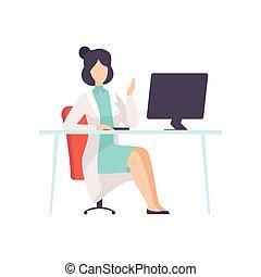 vetorial, trabalhando, doutor, personagem, ilustração, computador, femininas, escrivaninha