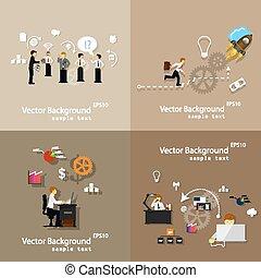 vetorial, trabalho equipe, ilustração