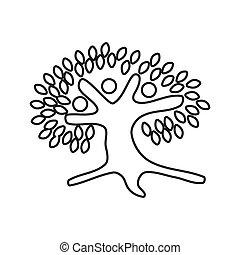 vetorial, trabalho equipe, junto, compromisso, pessoas, árvore, esboço, logotipo
