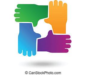 vetorial, trabalho equipe, mãos, pessoas, logotipo