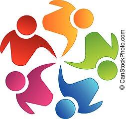 vetorial, trabalho equipe, unidade, logotipo