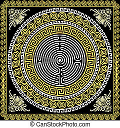 vetorial, tradicional, vindima, ouro, grego, ornamento,...