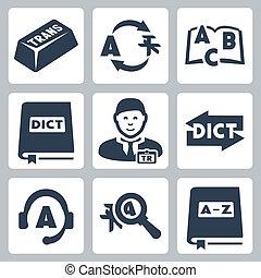 vetorial, tradução, jogo, dicionário, ícones