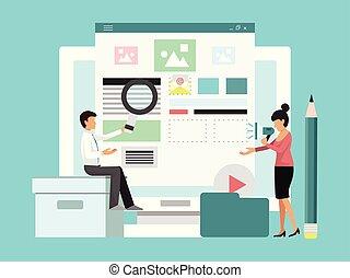 vetorial, transmissão, produto, conceito, illustration., canal, mídia, revisão, social, internet, criativo, streamer., popular, mulher, vídeo, online, blogger, trendy, content., homem