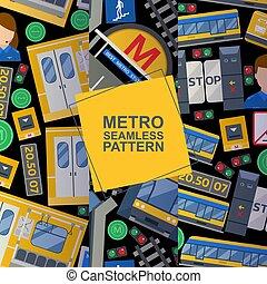vetorial, transport., jogo, metro, cartão, trem, seamless, plataforma, portas, padrões, mapa, estação, incluindo, ilustração, fundo, motorista, lines., público, elementos, bilhete