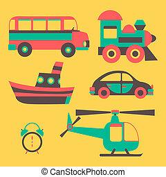 vetorial, transporte, ícones