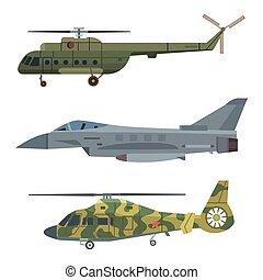 vetorial, transporte, illustration., technic, exército, armadura, arma, avião, guerra, defesa, helicóptero militar, indústria, transporte