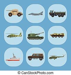vetorial, transporte, illustration., technic, exército, armadura, arma, guerra, defesa, tanques, veículo, militar, indústria, transporte