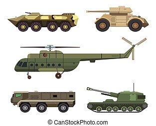 vetorial, transporte, illustration., technic, exército, armadura, arma, guerra, defesa, tanques, veículo, helicóptero, militar, indústria, transporte