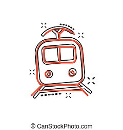 vetorial, transporte, negócio, trem, concept., efeito, ilustração, sinal, respingo, pictogram., cômico, style., caricatura, ícone