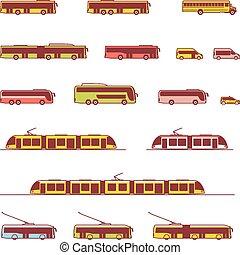 vetorial, transporte público, ícones