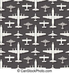 vetorial, transporte, padrão experiência, topo, seamless, ilustração, aeronave, avião, desenho, object., maneira, avião, viagem, viagem, vista