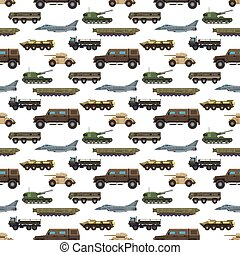 vetorial, transporte, tanques, technic, exército, armadura, padrão, arma, seamless, guerra, defesa, fundo, veículo, militar, indústria, transporte, illustration.