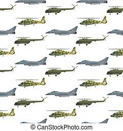 vetorial, transporte, technic, exército, armadura, padrão, arma, seamless, avião, guerra, experiência., defesa, ilustração, helicóptero militar, indústria, transporte