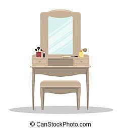 vetorial, trellis, com, espelho, em, a, bedroom.