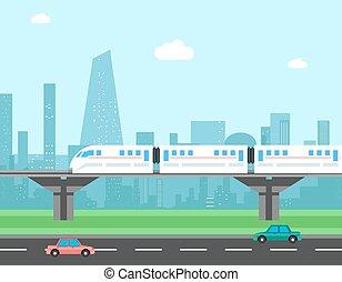 vetorial, trem, conceito, transporte, cityscape.