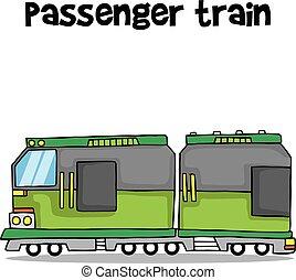 vetorial, trem passageiro, arte, transporte